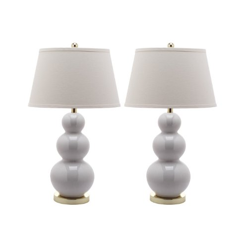 Safavieh Lighting Collection Pamela Triple Gourd Ceramic Table Lamp, Fern Green, Set of 2 image