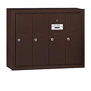 Salsbury Industries 3504ZSU Surface Mounted Vertical Mailbox with USPS Access and 4 Doors, Bronze