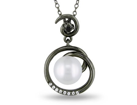 Sterling Silver 1/10 CT TDW black and White Diamonds FW White pearl fashion pendant (G-H, I2-I3)