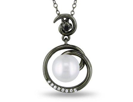 Sterling Silver 1/10 CT TDW black and White Diamonds FW White pearl fashion pendant (G-H, I2-I3)