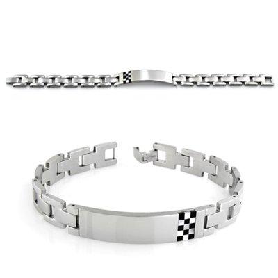Mens Resin Bracelet In Stainless Steel
