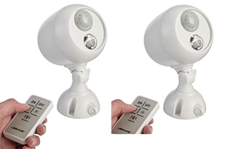 2 Pack Mr. Beams MB370 Wireless LED Remote Control Spotlight with Motion Sensor and Photocell 140 Lumens, White (Wireless Remote Spotlight compare prices)
