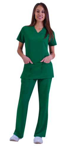 Jockey Ladies Scrub Set Zipper Pocket Top and Front Tied Zipper Pant Mid Waist Fit Spruce, X-Large