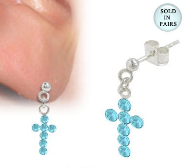 Cross Ear Studs Sterling Silver with Light Blue Jewels