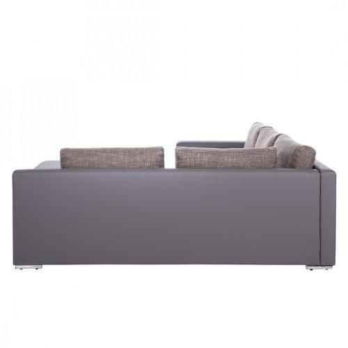 ecksofa eldorado lederoptik strukturstoff grau braun ablage links wohnlandschaft polsterecke. Black Bedroom Furniture Sets. Home Design Ideas