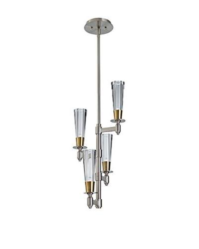 Feiss 4-Light Celebration, Brushed Nickel/Natural Brass