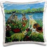Sandy Welds Mischievous Cats - Cats and Pots, chaos reigns - 16x16 inch Pillow Case