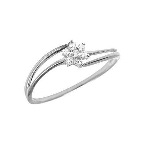 10K White Gold Diamond Cluster Ring (Size 10)