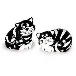 Chester Cat Tabby Black and White Striped Salt & Pepper Shakers