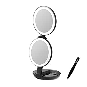 sale lighted makeup mirror for travel and home 10x 1x vanity mirror with bonus. Black Bedroom Furniture Sets. Home Design Ideas