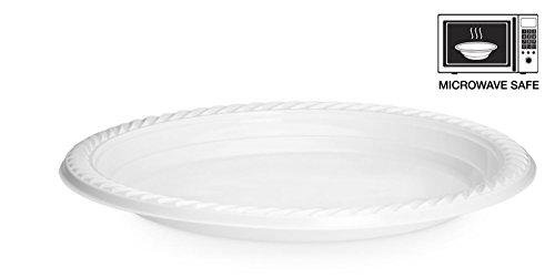 Basix alta qualità, Extra forte, piatti di plastica, usa e getta, da microonde, colore: bianco, plastica, 9 Inch - 22cm.