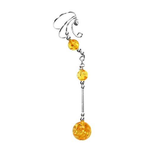 Sterling Silver Right Only Pierceless Long Dangle Sphere Yellow Amber Ear Cuff Wrap