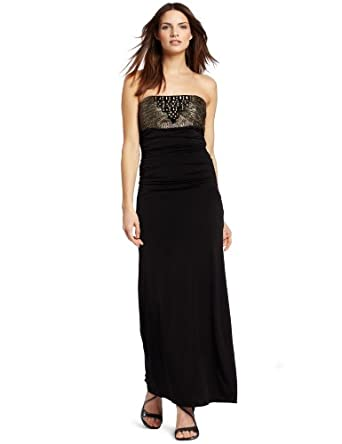 Laundry by Shelli Segal Women's Strapless Beaded Shirred Gown, Black, 4