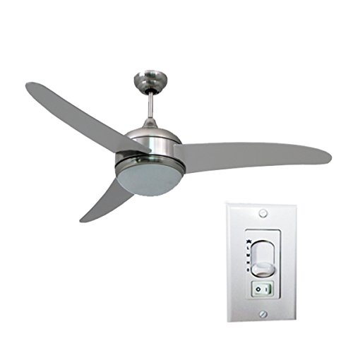 HomeSelects Contemporary Silver Metal/MDF/Glass 52-inch 3-blade Ceiling Fan (Kdk Fan compare prices)