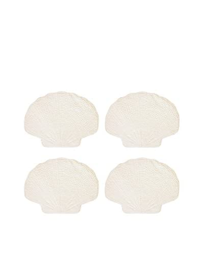 Set of 4 White Quilted Shell Placemats