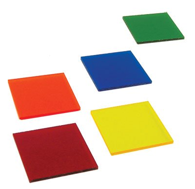 Color Filters Acrylic - Set of Five Colors 2x2 Inch Slabs