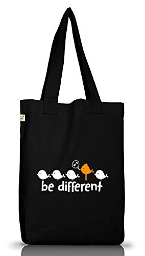 Shirtstreet24, Be Different, Jutebeutel Stoff Tasche Earth Positive (ONE SIZE), Größe: onesize,Black