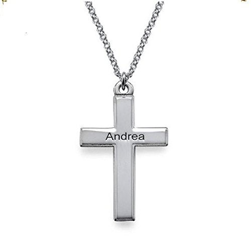 Sterling Silver Men Cross Necklace In A Engraved Pendant - Custom Made !