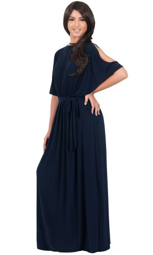 Koh Koh Women's Boat Neck Split Sleeve Flattering Long Elegant Maxi Dress – Large – Navy Blue