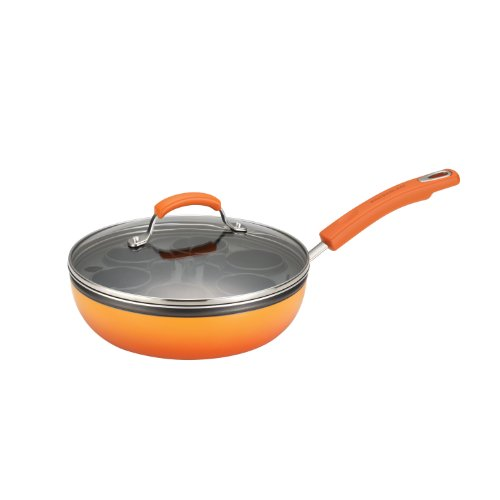 Rachael Ray Porcelain Enamel II Nonstick 9-1/2-Inch Egg Poacher Plus Covered Deep Skillet, Orange Gradient (Deep Dish Electric Frying Pan compare prices)