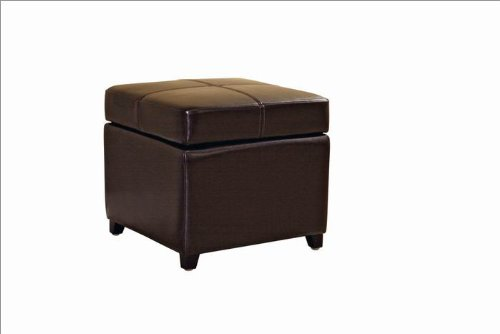 Barran Square Leather Storage Ottoman in Dark Brown