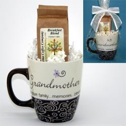 Grandmother Memories Coffee Mug with 2 packages of gourmet coffee - Gift for Grandma