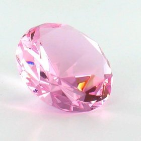 """Mother's Day Special: Pink Color Glass Crystal Diamond Shaped Paperweight 2.25"""""""