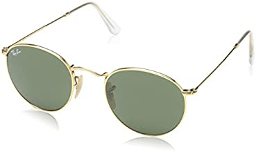 Ray-Ban Unisex Adult Round Metal Sunglasses in Arista Gold Crystal Green RB3447 001 47