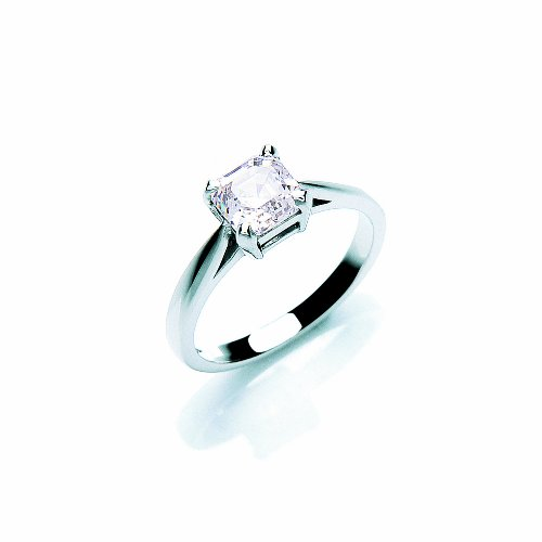 9ct White Gold Swarovski Enlightened C.Z. Mosaic Solitaire Ring - Size O