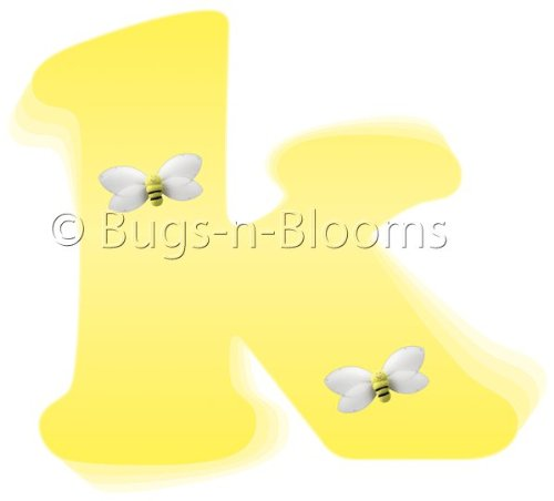 """K"" Yellow Black Bumble Bee Alphabet Letter Name Wall Sticker. Decal Letters For Children'S, Nursery & Baby'S Room Decor, Baby Name Wall Letters, Girls Bedroom Wall Letter Decorations, Child'S Names. Bumble Bees Honey Bumblebee Mural Walls Decals front-987360"