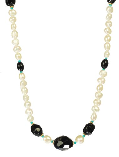Black Onyx Nuggets and Oval Beads with Turquoise Accents on White Freshwater Cultured Pearl Strand Endless Necklace 36