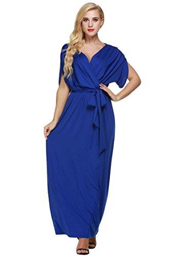 Angvns Women's Elegant Batwing Dolman Sleeve Classy Maxi Evening Dress,D1