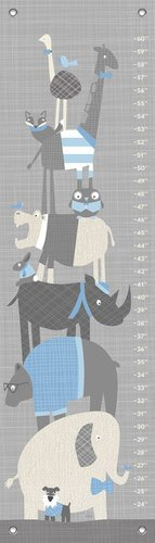 "Oopsy Daisy Happy Animal Herd Growth Chart, Gray/Blue, 12"" x 42"""
