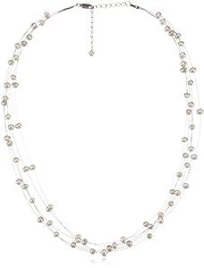 Valero Pearls Classic Collection Damen-Kette SW-Zuchtperlen oval weiß 925 Sterling Silber    50 cm   400311