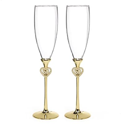 Hortense B. Hewitt Wedding Accessories Jeweled 50th Anniversary Champagne Flutes, Set of 2