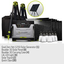 Goal Zero Ultimate Yeti 1250 Solar Generator Kit with cart, (8) Boulder 30 solar panels, (4) panel carrying cases, (2) Solar Tripod (holds 4 panels), (6) Light a Life Lanterns, (20) Boulder Clips, (1) 8mm 30' Ext. Cable, (2) 8mm 4x Combiner