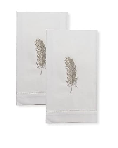 Henry Handwork Set of 2 Silver Feather Embroidered Hand Towels, White