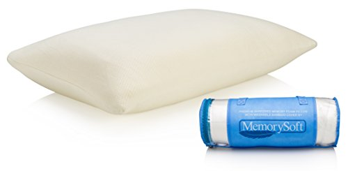 NEW Ultra-Luxury Shredded Memory Foam Pillow By MemorySoft- Washable, Hypoallergenic and Cool Bamboo Case- Soft Foam Shell Keeps Pillow Balanced- Standard Size Fits Twin to King- No Hassle Guarantee