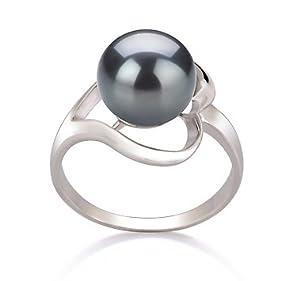 PearlsOnly Sonja Schwarz 9-10mm AA Süßwasser Platin 750 Perle Ring Size 59 (18.8)