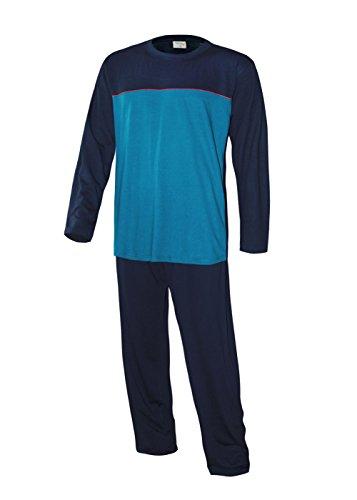 Schlafanzug lang Herren Pyjama lang Hausanzug Herren aus 100% Baumwolle Model MoonLine (XL/54, oberteil petrol/marine/ + hose uni marine)