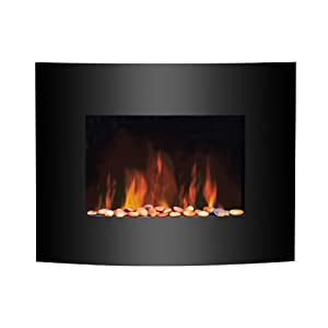 2012 KMS Medium Wall Mounted Electric Fire Place Fireplace Heater with Black Curved Glass Screen Plasma Style 1800W MAX by Eurosonic