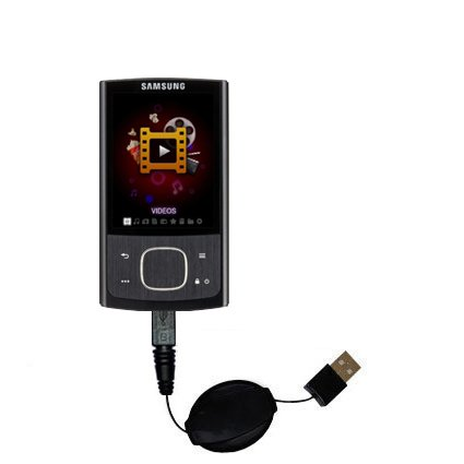 Retractable USB Cable for the Samsung YP-R0 Digital Media Player with Power Hot Sync and Charge capabilities - uses Gomadic TipExchange Technology