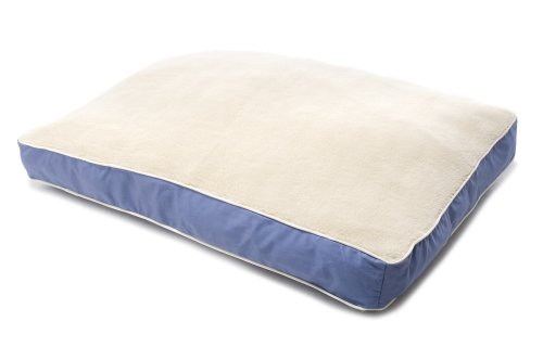 Dog Gone Smart Bed Canvas with Sherpa Top Rectangular Pet Bed with Ecru Piping, Blue, Medium