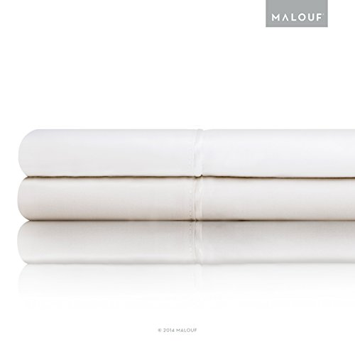 MALOUF Classic Italian Cotton Percale Sheets - 100% Authentic Egyptian Cotton - Made in Italy - Queen - Ivory (Italian Bedspread compare prices)