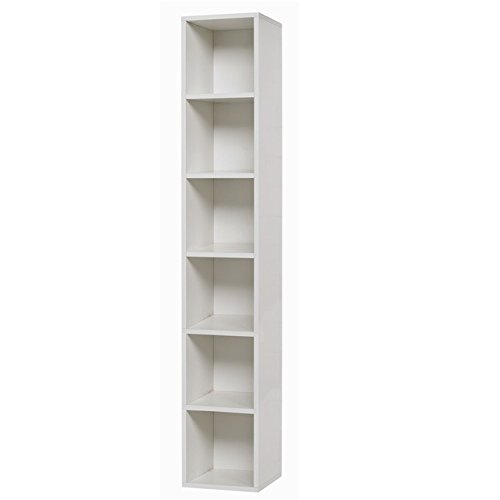 Libreria soggiorno bianco frassinato 6 ripiani Cm 30x30xH 180