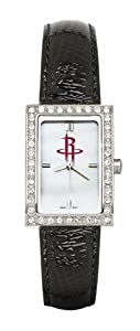 Houston Rockets Ladies Allure Black Leather Strap Watch by Logo Art