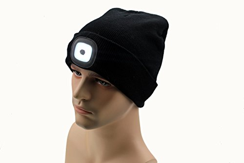 YCHY Rechargeable Unisex LED Hat Beanie Sock Cap Hours of light! NO BATTERIES TO REPLACE. (black) (Zombie Face Off Target Holder compare prices)