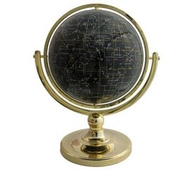 BLACK AGATE 9IN FULL MERIDIAN NIGHT SKY GEMSTONE GLOBE