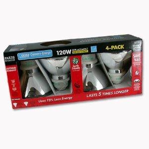 CFL Compact Fluorescent 23W PAR38 Outdoor Lights - 4-Pack