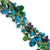 Howlite Created Turquoise Crystal Fluorite Bracelet 8.5 Inch - Lobster Claw - JewelryWeb